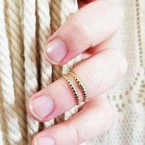 14k Gold Beaded Stacking Small Knuckle Midi Ring